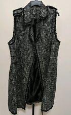 Lane Bryant Women's Plus Black/White Long Duster Metallic Open Vest 18/20 NEW