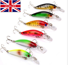 6 Fishing lures bait pike sea bass game hook spoons crankbait rattling UK #269