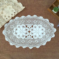 Vintage Cotton Placemat Doily Hand Crocheted Floral Lace Oval Tabletop Decor