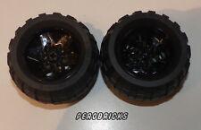 Lego Technic Technik, 2 Räder Rad Reifen 68,7 x 34R glänzend schwarze Felgen