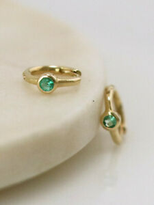 Christmas sale Natural Emerald Bezel Solid 14 Karat Gold Hoop Earrings