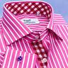 Red Pink Striped Formal Business Dress Shirt Wrinkle Free Plaids & Checks