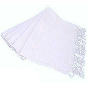 Ladies White Pashmina Scarf Wrap Shrug BNWT Fringed Edges Evening Shawl