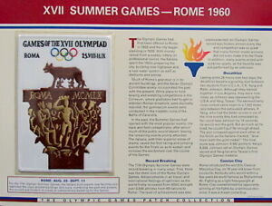 1960 SUMMER OLYMPICS XVII Rome ~ OLYMPIC GAMES PATCH INFO CARD ~ Willabee & Ward