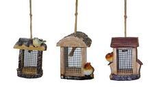 3 X Luxus Hängend Holz Wildblumen Vogelhaus Dosieranlage Erdnuss Samen Muttern
