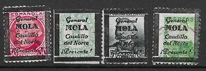 ESPANA LOCAL STAMPS 1936-7 PERIOD.Gal MOLA,SAN SEBASTIAN,ASTURIA,VIVA ESPA.4SCAN