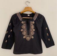 ANTHROPOLOGIE Women Blouse Sz 4 Peasant Top Black Tan Embroidered Collar Tie