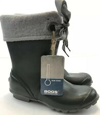 Bogs Becca Solid Green Rubber Rain or Snow Boots Fabric Top with Bow Women's 11