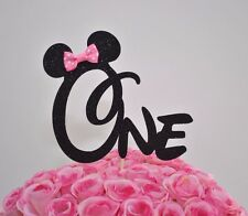 "Minnie Mouse Glitter ""ONE"" Cake Topper First Birthday Party Black With Pink Bow"