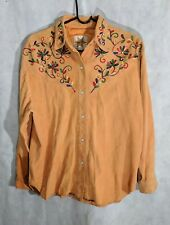 Billy Martin's Nyc Vintage 70s Suede Western Pearl Snap Colorful Shirt Size 6