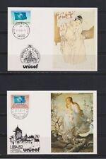 Briefmarken der Vereinten Nationen mit Sonderstempel und Kunst-Motiv
