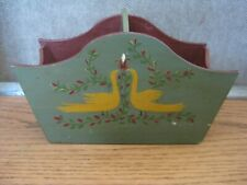 Vintage 1970 Signed Folk Art Wooden Basket Birds Floral Hand Painted Green 8x4x5