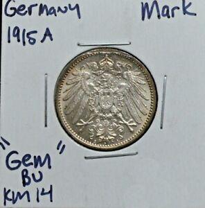 Germany, 1915A,1 Mark, Silver, KM 14, Gem BU grade
