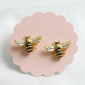 Gold Enamel Bumblebee Stud Earrings