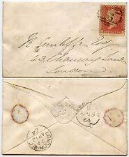 GB QV 1864 ABERYSTWYTH NUMERAL 2 + EMBOSSSED HERALDIC ENV.MAKER PARKINS + GOTTO