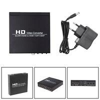 Converter Box HD Video Convertisseur SCART to HDMI Coaxial Audio EU Plug