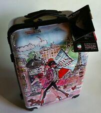 """Mia Toro 24""""  Izak/Paris Print Rolling Spinner Suitcase Luggage NEW NWT"""