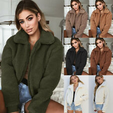 UK Womens Pocket Fluffy Coat Fleece Fur Jacket Teddy Bear Winter Outwear Hoodies
