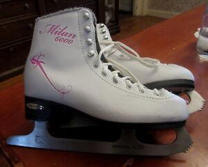 MILAN 6000 Imperial Elite Size 4 White Figure Skates