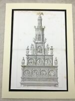 1857 Antique Architectural Print Notre Dame Hal Cathedral Belgium Engraving