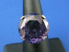 VINTAGE 14K YELLOW GOLD SYNTHETIC ROUND CUT ALEXANDRITE GEMSTONE RING SIZE 6.5