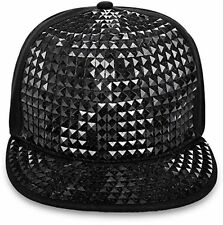 Black Baseball Hat Cap Bling Mens Women's HipHop Hip Hop Spikes Rock Rave Party