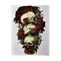 Autocollant de tatouage d'art de corps de bras de crâne et de rose provisoire