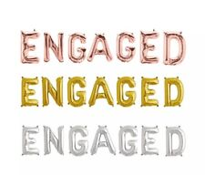 Engaged Balloons Banner Engagement Party Decorations Heart Rose Gold Silver Gold