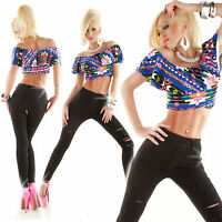 Womens Top Clubbing Ladies Short Blouse Party Sexy Crop Shirt One Size 6 8 10 12