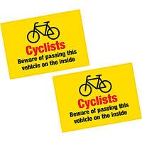 2 x Cyclist Beware of Passing on Inside Vinyl Sticker HGV Lorry Van 205x150mm