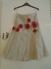 Long 100% Linen Light Brown & Pink Floral Embroidered Monsoon Skirt in Size 10