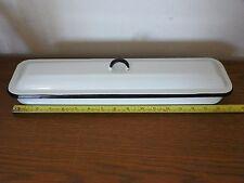 Vintage White Enamel Pan W/ Lid Surgical Medical Refrigerator Dish Storage    O7