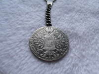 Authentic 1780 Austrian Thaler Antique .925 Silver Coin Keychain w Velvet Box