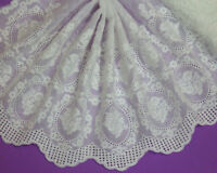 LOT 5 Yards Embroidery Cotton Off White Lace Trim For Sewing/Craft Wide 25 CM
