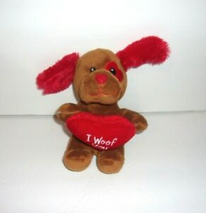 "Dan Dee Brown Puppy Dog Red Heart I Woof You Plush 6"" Sewn Eyes"