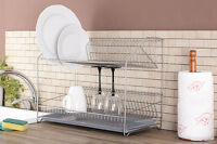 2 Tier Stainless Steel Dish Plate Cutlery Rack Kitchen Drainer Holder Drip Tray