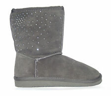 NINE WEST ~ CLUB ~ SPARKLING SUEDE SHORT BOOT ~ GRAY ~ FAUX FUR LINED