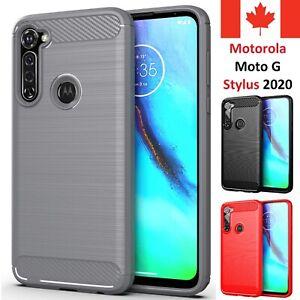 For Motorola Moto G Stylus 2020 Case - Carbon Fiber Shockproof Soft Back Cover