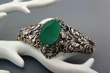 Antikes florales Jugendstil Armband Chrysopras 835 Silber Silver Bracelet 19cm