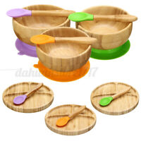 Baby Bamboo Silicone Feeding Plates + Spoon Set/Bowl Plate + Spoons Tableware I