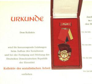 DDR Orden Banner der Arbeit Held der Arbeit Urkunde  Mottoparty  NVA FDJ MfS SED