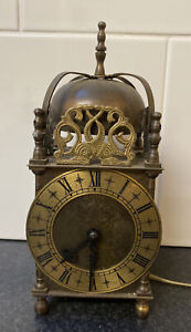 """Rare Large 9.5"""" Tall Quality Vintage Smiths Brass Lantern Style Electric Clock"""