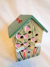 "Decorative Birdhouse 6"" Wood Ladybugs Strawberries Garden Flowers Brown Green"