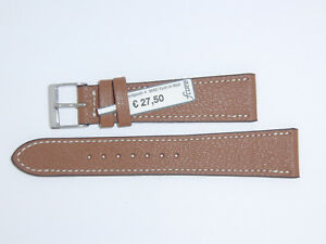 FLUCO Genuine Vintage Leather Watch Band Strap 20 mm Brown Cognac Montana-Ziege