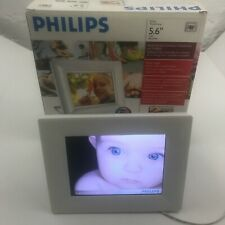 """Philips 6FF3FPW 5.6"""" LCD Digital Picture Frame White w Alarm Clock"""