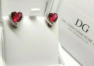 White gold finish red ruby created diamond heart cut droplet earrings free post