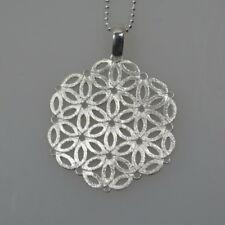 Eismatter Anhänger 925 Silberanhänger 3 cm Mandala Blume des Lebens