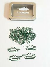 Mitsubishi Heavy Industries TANK  Shaped Green Metal Paper Clips NEW Military