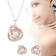 2PCS/Set Women Rose Gold Plated Rhinestone Crystal Pendant Necklace Earrings GA