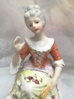 Vintage Victorian Lady  figurine  with fan Hand Painted Japan